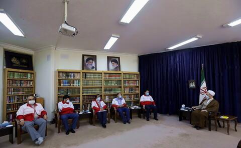 دیدار رئیس جمعیت هلال احمر کشور با آیت الله اعرافی