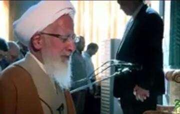 فیلم | لحظاتی از اقامه نماز عید قربان توسط آیت الله العظمی جوادی آملی در سال ۹۶