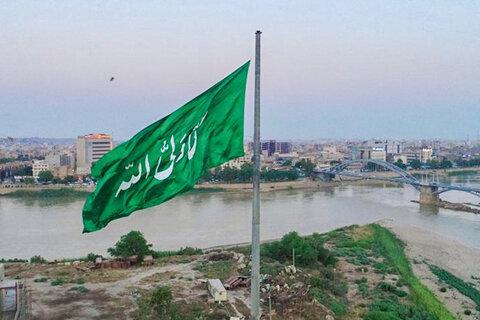 اهتزاز پرچم علوی در آسمان اهواز توسط دختران فاطمی