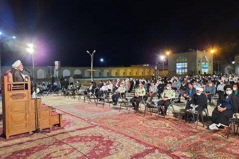 بالصور/ مجلس تأبين لإمام جمعة مؤقت مدينة يزد (ره) في مدرسة المصلى العلمية