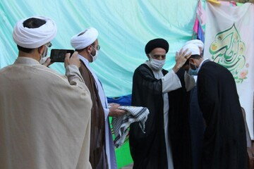 تصاویر/ جشن عید غدیر و مراسم عمامه گذاری در مدرسه علمیه آیت الله آخوند همدان