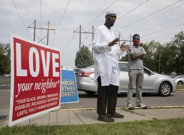 تجمع مردم در پی حمله به امام جماعت مسجد ایندیانای آمریکا