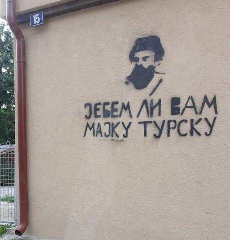 تصویر جنایتکار جنگی بر دیوار منازل مسلمانان بوسنی در مونته نگرو
