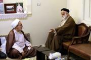 دیدار هیئت اعزامی آیت الله اعرافی با استاد پیشکسوت حوزه