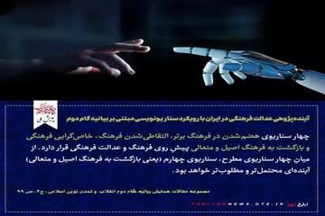 عکس نوشت | آینده پژوهی عدالت فرهنگی در ایران با رویکرد سناریونویسی مبتنی بر بیانیه گام دوم