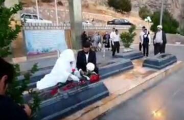 پیوندی با شاهدانی آسمانی/ ازدواج زوج جهادگر برسر مزار شهدای گمنام