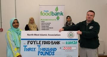 کمک ۳ هزار یورویی مسلمانان ایرلند شمالی به بانک غذا