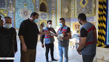 تصاویر/ اجرای پروتکلهای بهداشتی از سوی خادمان حسینی در کربلا