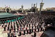 نماز جماعت ظهر عاشورا  در حرم حضرت معصومه(س) برگزار شد + عکس