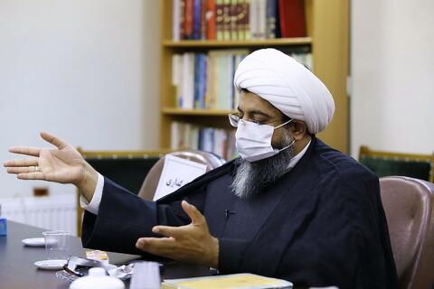 تصاویر/ نشست ادبی نگاهی به امر بع معروف و نهی از منکر در شعر حوزه، حجت السلام روح الله مختاری