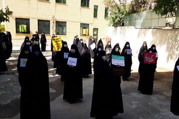 تصاویر/ تجمع اعتراضی بانوان همدانی در محکومیت اهانت به ساحت مقدس پیامبر اسلام(ص)