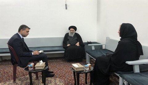 آية الله السيد علي السيستاني، وممثلة الامم المتحدة في العراق جنين بلاسخارت.