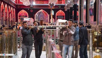 تصاویر/ آماده سازی حرم امام حسین (ع) برای مراسم زیارت اربعین