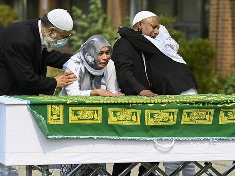 Hundreds of mourner's honour man stabbed to death outside Toronto mosque