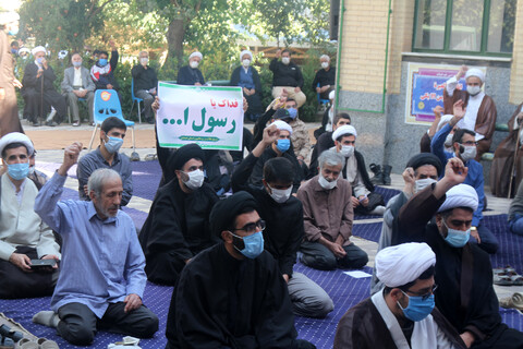 تصاویر / تجمع اعتراضی طلاب همدان در محکومیت خیانت کشورهای عربی منطقه