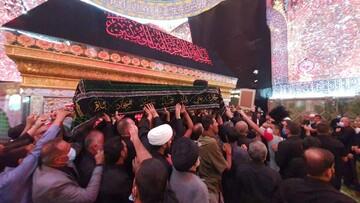 تصاویر/ تشییع پیکر آیت الله محمد حسین حکیم امام جماعت مسجد سهله در جوار حرم حضرت امیرالمؤمنین(ع)