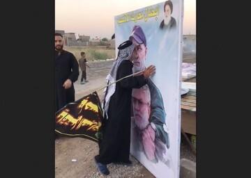 فیلم | ابراز احساسات پیرمرد عراقی به تصویر حاج قاسم