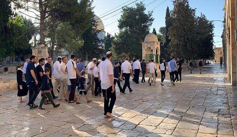 مستوطنون يقتحمون الاقصى لاقامة طقوس يهودية