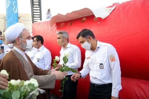 تصاویر / افتتاح بوستان بزرگ عترت و شروع مانور ضدعفونی شهر توسط آیت الله اعرافی