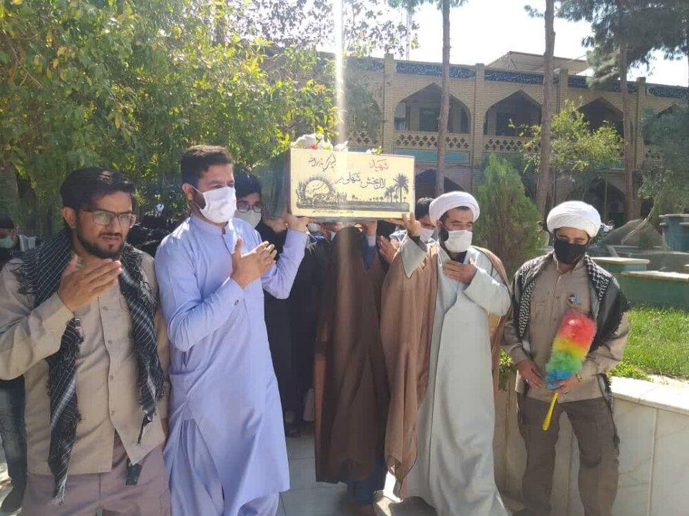 تصاویر/ تشییع پیکر طلبه شهید تازه تفحض شده در زاهدان