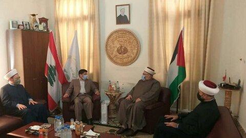 عباس خامه یار رایزن فرهنگی ایران و شیخ عبد الله جبری دبیرکل جنبش امت لبنان