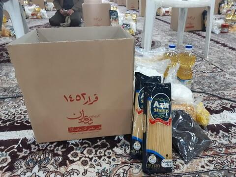 تصاویر/ اجرای طرح اهدای ۱۴۵۲ بسته معیشتی به تعداد ستون های نجف تا کربلا  در کاشان