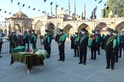 تصاویر/ مراسم تعویض پرجم آستان مقدس امامزاده حسین (ع) قزوین