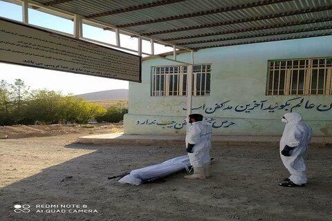 تدفین اموات کرونایی شهرستان هرسین توسط طلاب جهادی