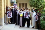 تصاویر/ واکنش طلاب بسیجی مدرسه علمیه شهید صدوقی واحد 2 در پی اهانت رئیس جمهور فرانسه به پیامبر(ص)