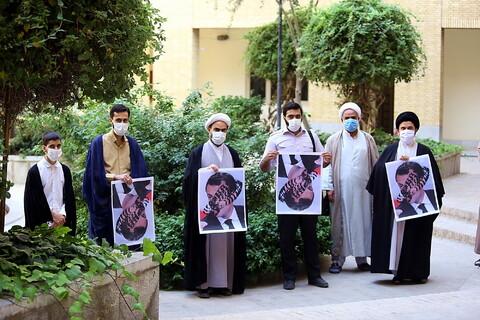 تجمع طلاب بسیجی مدرسه علمیه شهید صدوقی واحد 2 در پی اهانت رئیس جمهور فرانسه به ساحت مقدس پیامبر(ص)