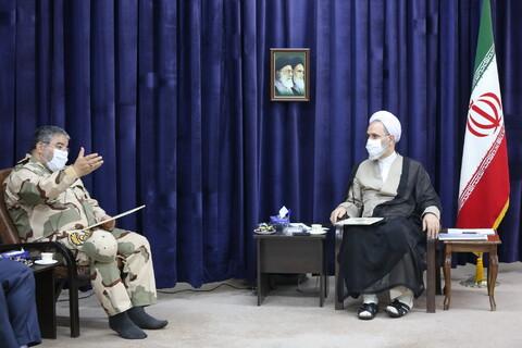 تصاویر/ دیدار سردار جلالی رئیس سازمان پدافند غیرعامل با آیت الله اعرافی