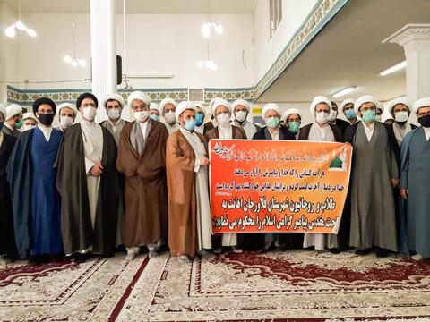 تصاویر/تجمع اعتراضی طلاب و روحانیون  شهرستان فلاورجان در پی اهانت  به ساحت مقدس پیامبر  اسلام