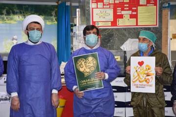 تصاویر/ استقبال کادر درمان بیمارستان بقیة الله (عج) تهران از پویش #من_محمد_را_دوست_دارم