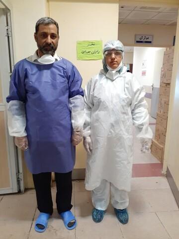 خدمترسانی طلبه جهادی به همراه خانواده در بیمارستانهای قم