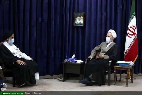 بالصور/ ممثل الولي الفقيه في محافظة خوزستان يلتقي بآية الله الأعرافي بقم المقدسة