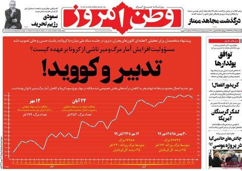 صفحه اول روزنامههای یکشنبه 25 آبان ۹۹