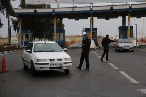 تصاویر/ ممنوعیت تردد وسایل نقلیه توسط نیروی انتظامی قم
