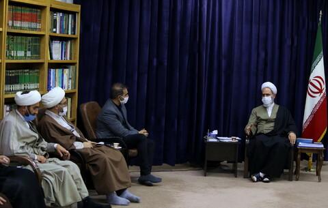 تصاویر/ دیدار جمعی از طلاب جمهوری آذربایجان با آیت الله اعرافی