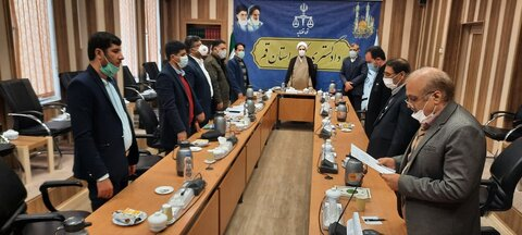 حجت الاسلام والمسلمین علی مظفری،در مراسم تحلیف مرکزکارشناسان رسمی دادگستری استان