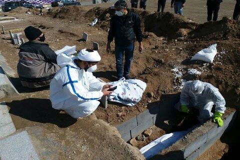 تجهیز اموات کرونایی توسط روحانیون جهادی سنقر و کلیایی