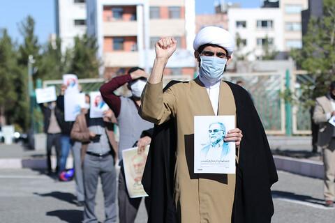 تجمع اعتراضآمیز طلاب و دانشجویان درپی ترور شهیدفخری زاده در جلوی استانداری خراسان جنوبی