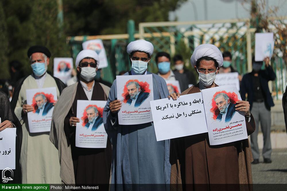 تصاویر / تجمع اعتراضآمیز طلاب و دانشجویان خراسان جنوبی در پی ترور شهید فخری زاده