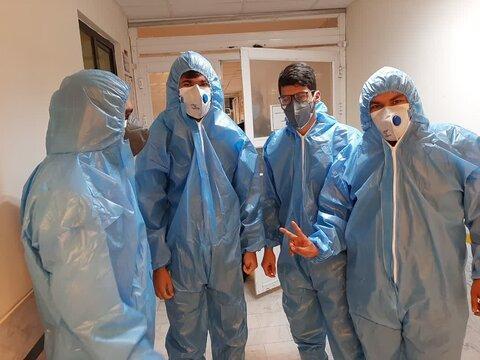 استقرار طلاب یاور سلامت در بیمارستان بیماران کرونایی شهر ایلام