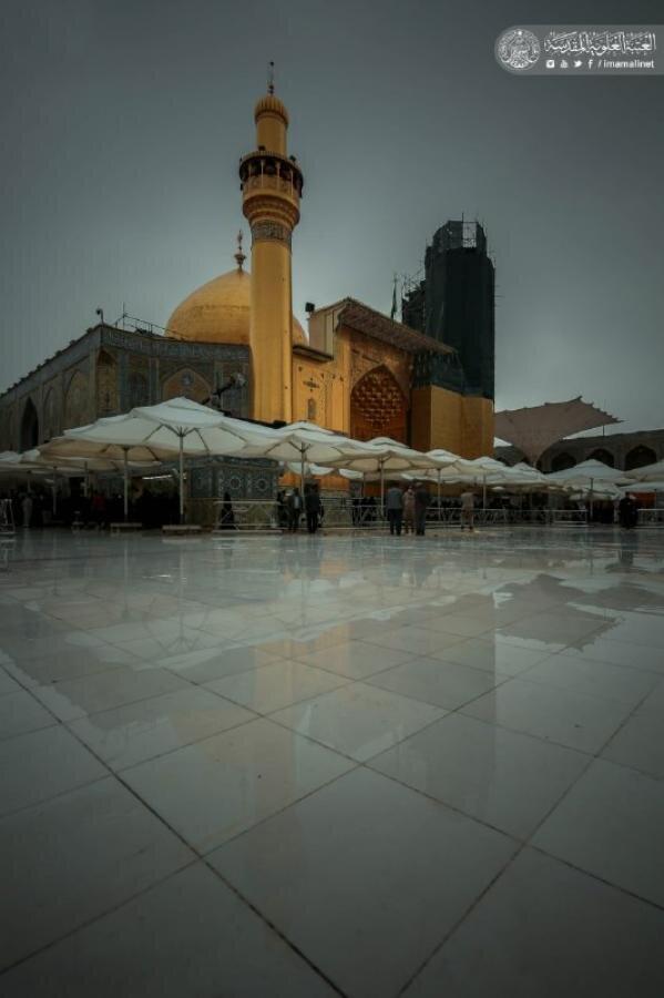 حال و هوای بارانی حرم حضرت امیرالمؤمنین (علیه السلام)عکس