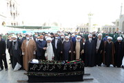پیکر حجت الاسلام والمسلمین جعفر الهادی در حرم حضرت معصومه(س) به خاک سپرده شد