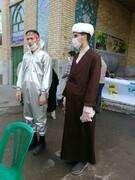 طلاب جهادی قزوین همچنان در میدان مبارزه با کرونا+ عکس
