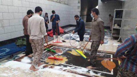فعالیت جهادی طلاب مدرسه علمیه علی بن ابی طالب(ع) اهواز  پس از جریان بارندگی
