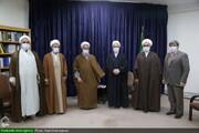 """بالصور/ أعضاء مؤتمر """"آية الله العظمى السيد محمود الحسيني الشاهرودي (ره)"""" يلتقون بآية الله الأعرافي بمدينة قم المقدسة"""