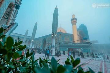 تصاویر/ حال و هوای زمستانی حرم حضرت امیرالمومنین (علیه السلام)