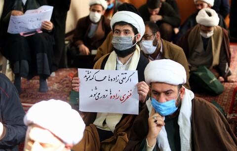 تصاویر/ تجمع طلاب برای تجدید بیعت با آرمانهای امام و رهبری